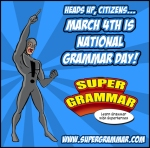 Exclamation man supports National Grammar Day!