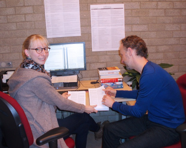 Inge Otto and Robin Straaijer working on the H.U.G.E. database
